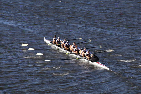 BOSTON - OCTOBER 23, 2016: Don Bosco Prep Crew races in the Head of Charles Regatta Mens Youth Eights