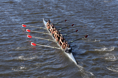 BOSTON - OCTOBER 23, 2016: Rose City Crew races in the Head of Charles Regatta Mens Youth Eights Editorial
