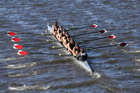 eights: BOSTON - OCTOBER 23, 2016: Rose City Crew races in the Head of Charles Regatta Mens Youth Eights Editorial