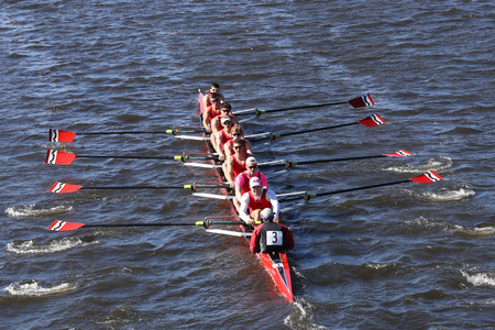 eights: BOSTON - OCTOBER 23, 2016: CRI  Crew races in the Head of Charles Regatta Mens Youth Eights