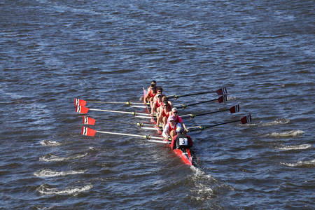 BOSTON - OCTOBER 23, 2016: CRI Crew races in the Head of Charles Regatta Mens Youth Eights