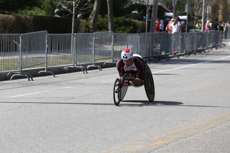 he is public: BOSTON - APRIL 17 : Ernst Van Dyk of South Africa  came in second during  he Boston Marathon with  time of 1:18:24 1 second behind the leader Marcel Hug  April 17, 2017 in Boston. [public race]