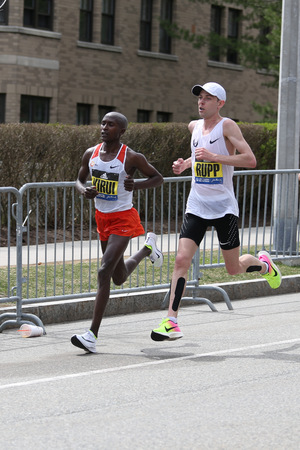 BOSTON - APRIL 17 :  Kenyan Geoffrey Kirui of  Kenya beat Galen Rupp of USA with a time of 2:09.37 during the Boston Marathon April 17, 2017 in Boston.[public race] Editorial
