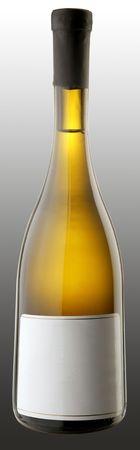The bottle of white wine w blank sticker Stock Photo - 6265444