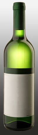 The bottle of white wine w blank sticker Stock Photo - 6265457