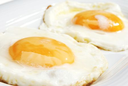 A pair of eggs closeup on the plate photo