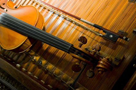mozart: The neck of a violin w bow  Stock Photo