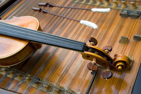 fiddlestick: The neck of a violin w bow  Stock Photo