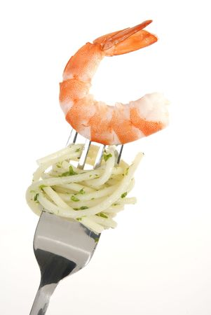 The Red Shrimps on the fork w spaghetti