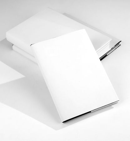 Three Blank book cover white Imagens
