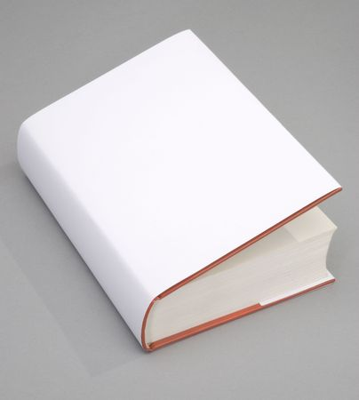 Blank opened book with white cover photo