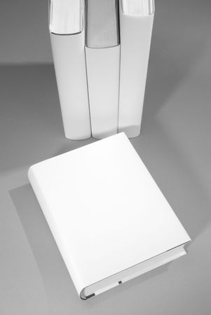blank magazine: Blank book cover w background of a row of books
