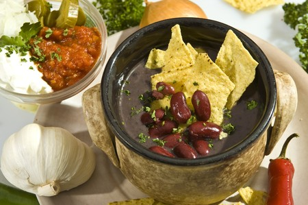 Soup con carne mexican style w tortilla chips and salsa Stock Photo - 7218855