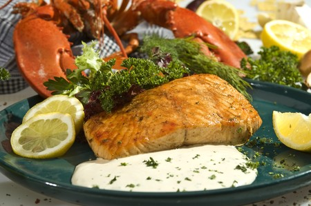 king salmon: King salmon baked with lemon and mexican spicy