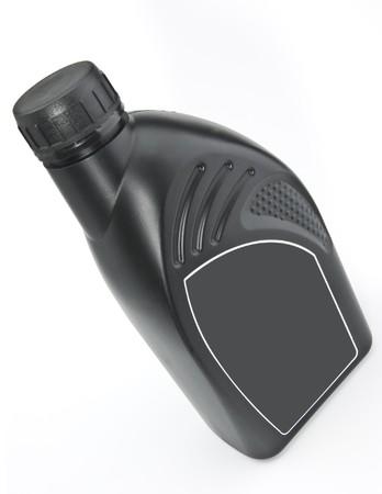 De zwarte plastic fles van motor olie Stockfoto - 7218935