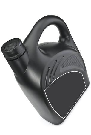 De zwarte plastic fles voor motorolie