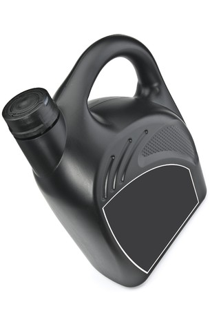 The black plastic bottle of motor oil