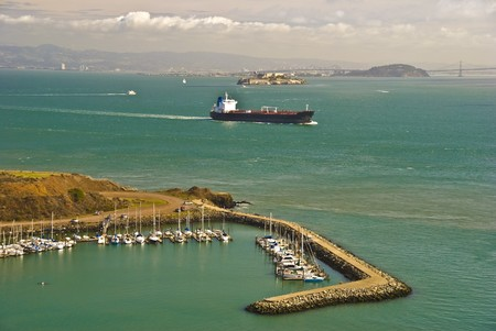 San Francisco bay with Horseshoe bay and Alcatraz Stock Photo - 7219061