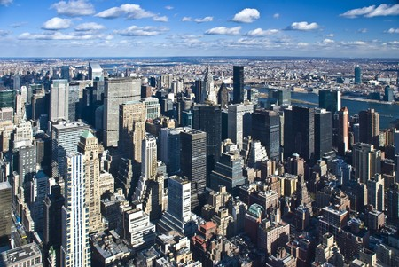 The New York City panorama with Manhattan