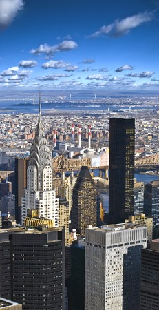 The New York City panorama with Chrysler building and Queensboro bridge