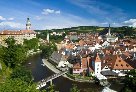 Cesky Krumlov The City Panorama Stock Photo