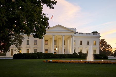 presidency: The White House in Washington D.C. at twilight