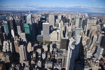george washington: El panorama de la ciudad de Nueva York con puente de Parque Central y George Washington