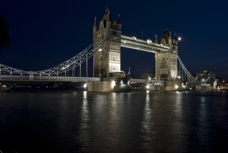The Tower Bridge in London in the night photo