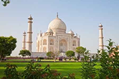 The Taj Mahal is a mausoleum located in Agra, India. It is one of the most recognisable structures in the world.