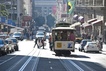 streetcar: SAN FRANCISCO - NOVEMBER 2008: The Cable car tram, November 7th, 2008 in San Francisco, USA. The San Francisco cable car system is world last permanently manually operated cable car system.