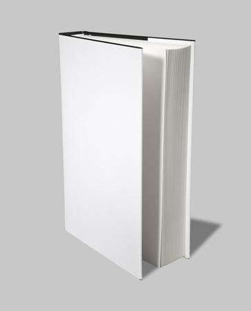 Blank book open cover white photo