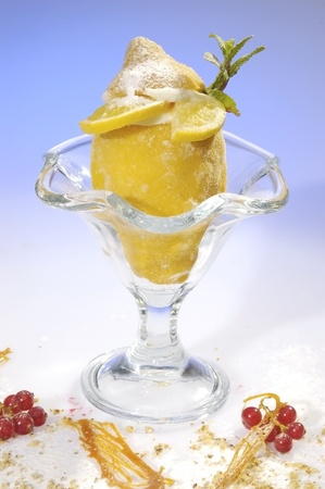 lemon balm: Frozen lemon filled by lemon sorbet w mint leave