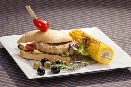 Sandwich w meat grilled corn and aubergine