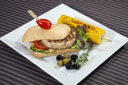 Sandwich w meat grilled corn and aubergine photo