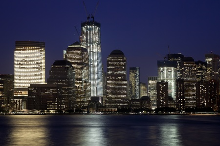 The New York City skyline at twilight w the Freedom tower Stock Photo - 11242668