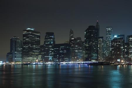The New York City skyline at twilight 스톡 콘텐츠