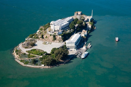alcatraz: Alcatraz jail in San Francisco bay Stock Photo