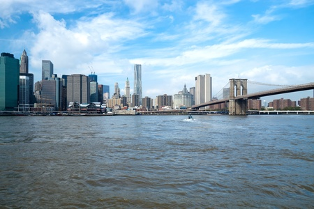 The New York City skyline at afternoon w the Freedom tower Stock Photo - 11393886
