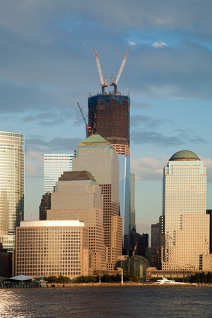 The New York City skyline at afternoon w the Freedom tower Stock Photo - 11393881
