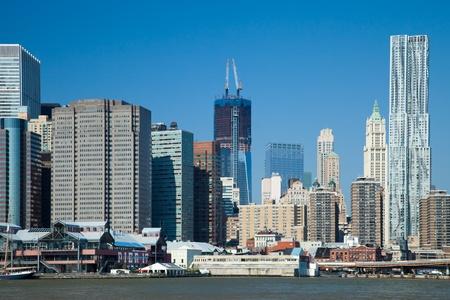The New York City skyline w the Freedom tower Stock Photo - 11393876