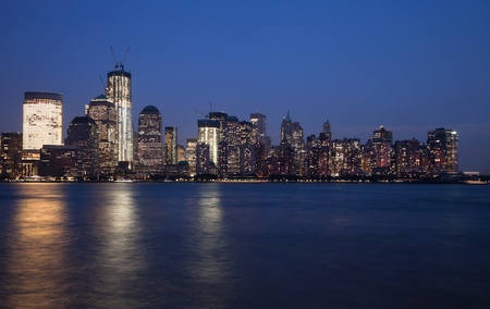 The New York City skyline at twilight w the Freedom tower Stock Photo - 11638153