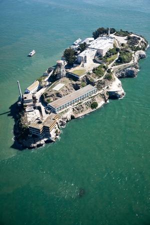 Alcatraz jail in San Francisco bay aerial view Stock Photo - 11638207