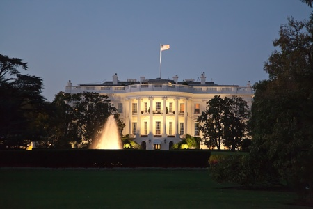 presidency: The White House in Washington D.C. at the night Stock Photo