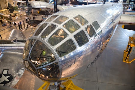 atomic center: CHANTILLY, VIRGINIA - OCTOBER 10: Boeing B-29 Superfortress Enola Gay. Photographed inside the National Air and Space Museum Editorial