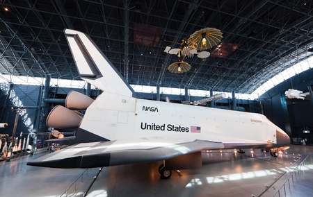 chantilly: CHANTILLY, VIRGINIA - OCTOBER 10: Space Shuttle Enterprise at the National Air and Space Museum Editorial