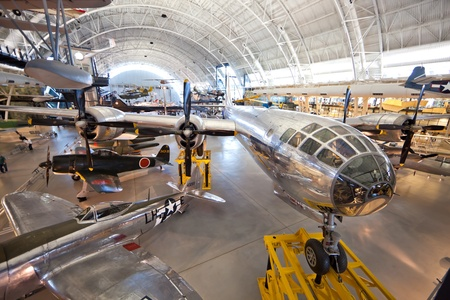 atomic center: CHANTILLY, VIRGINIA - OCTOBER 10: Boeing B-29 Superfortress Enola Gay. Photographed inside the National Air and Space Museums Steven F. Udvar-Hazy Center. October 10,2011 in Chantilly, Virginia.