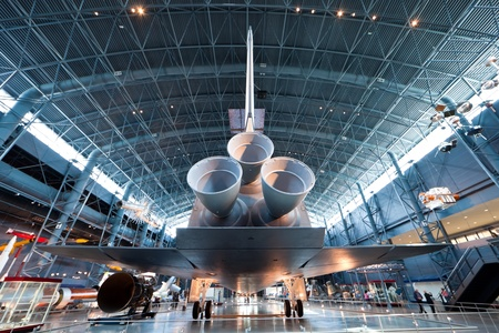 CHANTILLY, VIRGINIA - OCTOBER 10: Space Shuttle Enterprise at the National Air and Space Museum on October 10, 2011. The Enterprise was the first Space Shuttle orbiter. On September 17, 1976 the first full scale prototype was completed.
