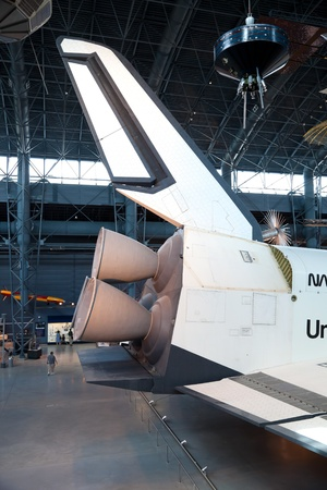 CHANTILLY, VIRGINIA - OCTOBER 10: Space Shuttle Enterprise at the National Air and Space Museum on October 10, 2011. The Enterprise was the first Space Shuttle orbiter. On September 17, 1976 the first full scale prototype was completed. 新闻类图片