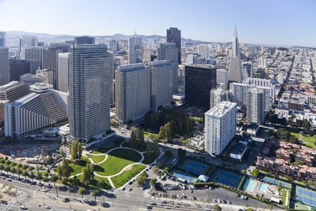 San Francisco Downtown, California, aerial view photo