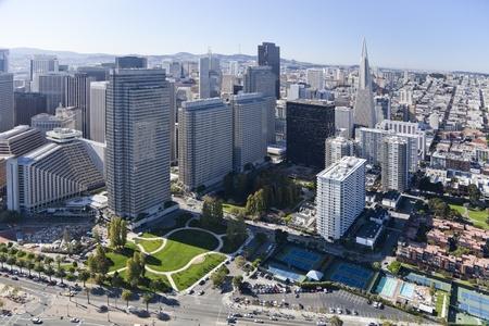 san: San Francisco Downtown, California, aerial view Stock Photo